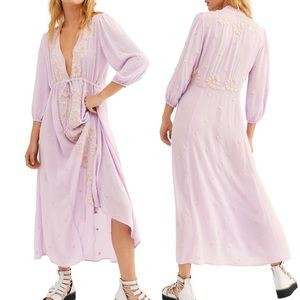 Free People Embroidered Fable Midi Dress Lilac